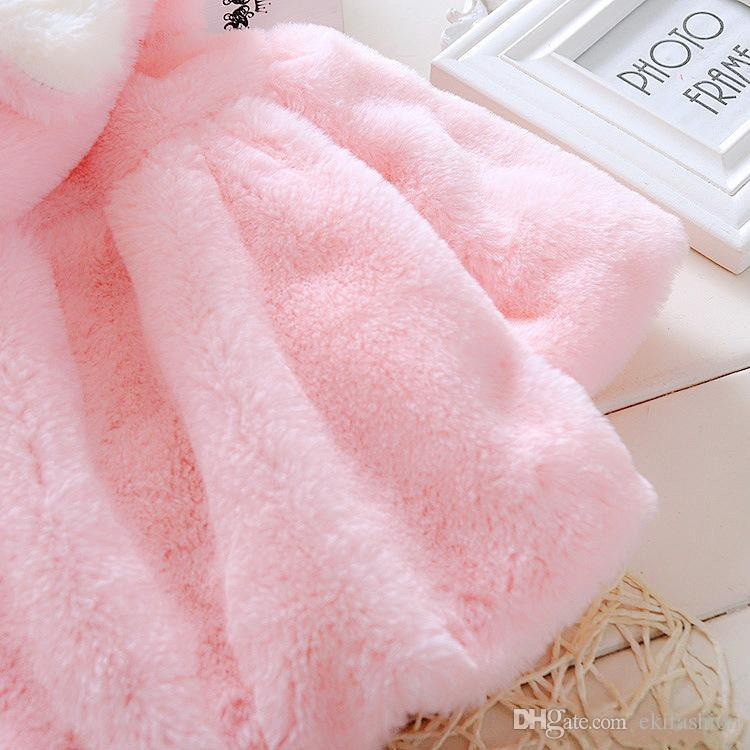 Cute White Pink Baby Infant Girls Long Sleeve Fur Winter Warm Coat Cloak Jacket Thick Warm Clothes Baby Girl Hooded Coats
