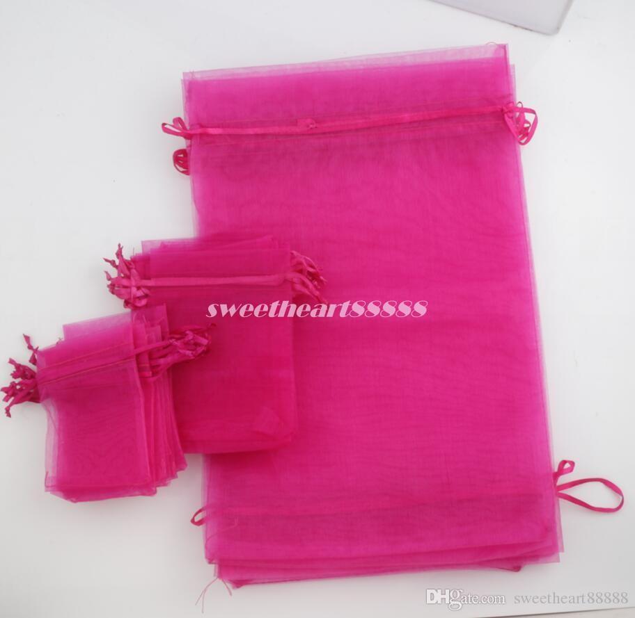 100 teile / los Fuchsia 4 größen Organza Schmuck Geschenk Tasche Taschen Für hochzeit begünstigt 7X9 cm 9X12 cm 13X18 cm 20X30 cm