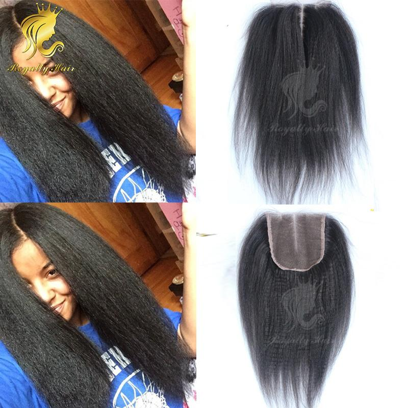 Coarse Yaki 4''x3.5''Kinky Straight Top Closure Slightly Bleached Knots Brazilian Human Hair no tangle no sheeding
