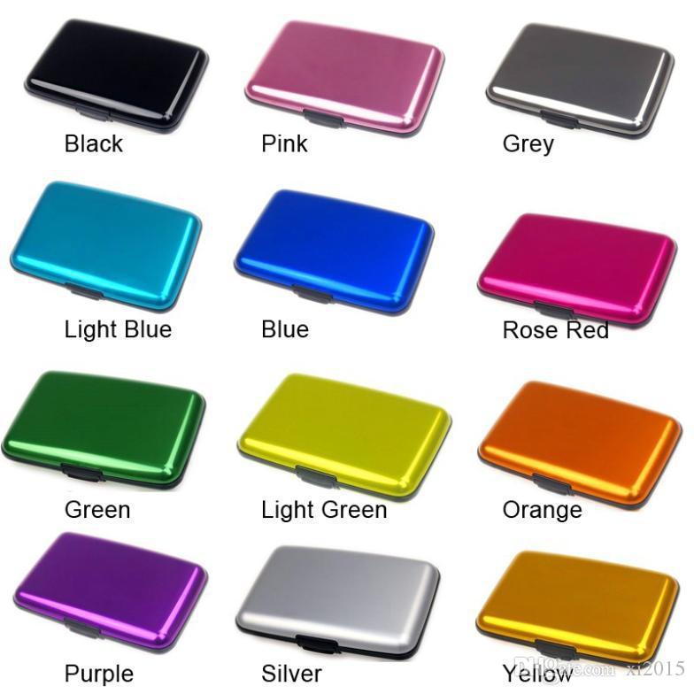 500 unids / lote cajas de tarjetas de crédito de aluminio titular de la tarjeta caso del banco cartera de aluminio mezcla de es