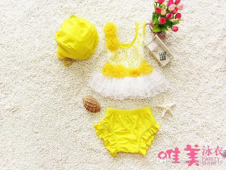 دارى بيتش ملابس الأطفال الكورية أزياء الدانتيل زين الحلو مع الدانتيل الطفل الفتيات اثنين-- قطعة المايوه / 1-8age ab900