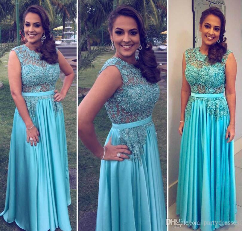 Großhandel Hellblaue Arabische Kleider Formale Abendkleider Juwel ...