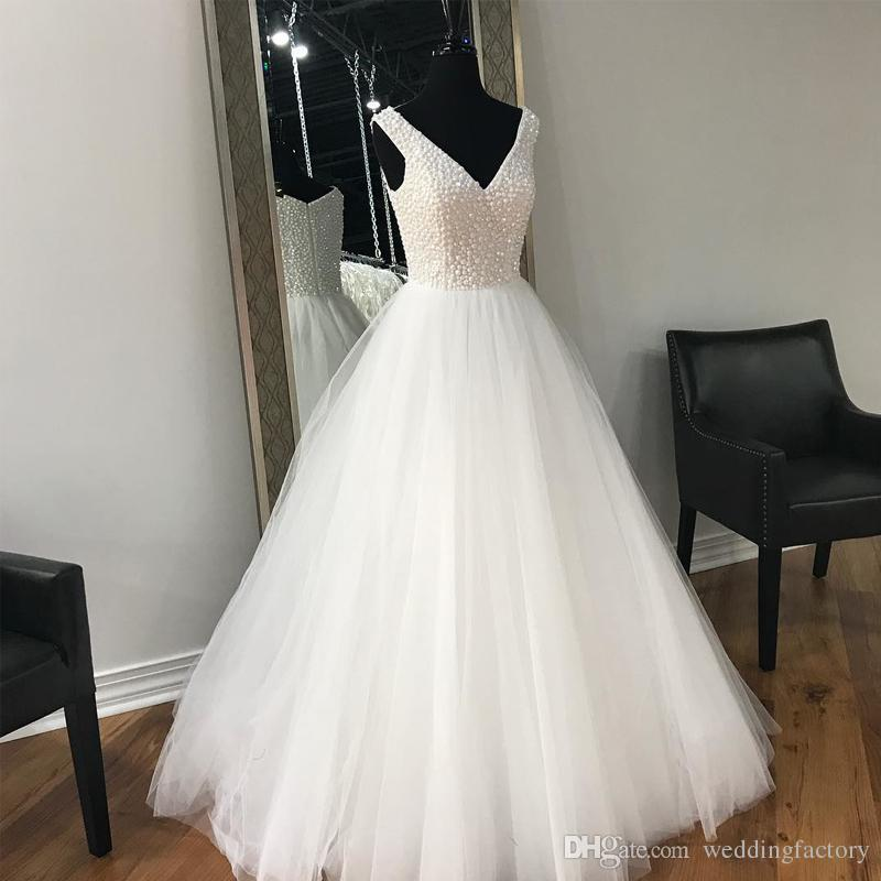 Discount Stunning Luxury Pearls Wedding Dress Plus Size A Line ...