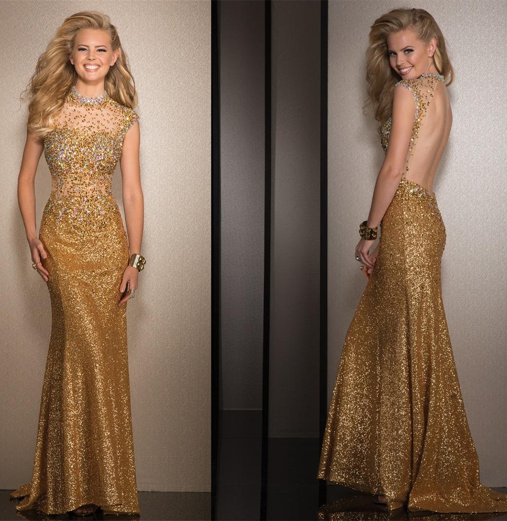 Bateau Neck Sheer Diamond Beaded Evening Gown Long New Design Gold ...
