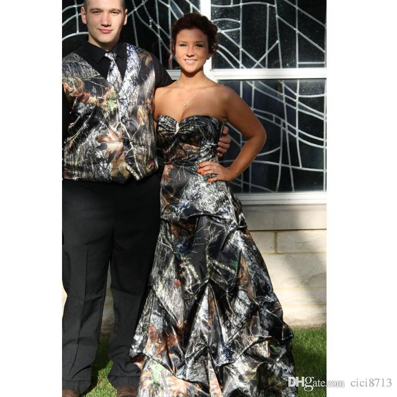 Mossy Oak Camo Prom Dresses With Sweep Train Pick Up Dress Lace Up ...