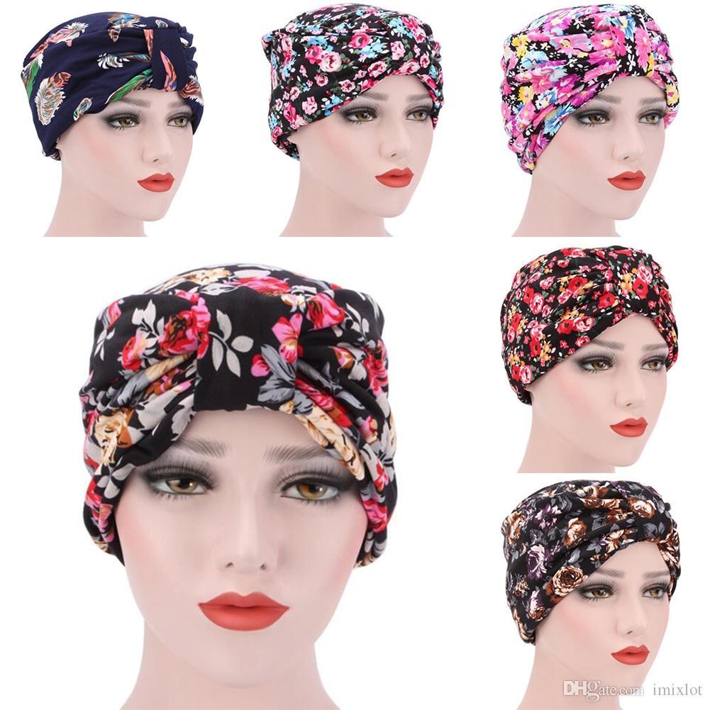 Compre Moda Chapéu De Malha Mulheres Floral Impresso Chemo Hat Pré Amarrado  Headwear Bandana Beanie Lenço Turbante Cabeça Envoltório Cap De Imixlot 6b4dfdb9263