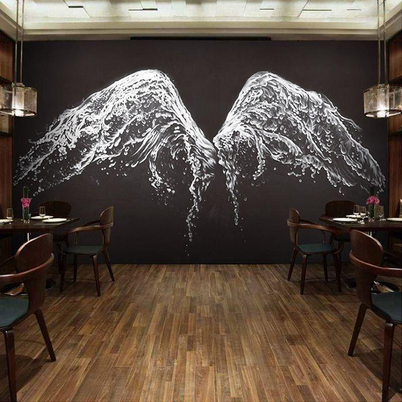 Custom Photo Wallpaper Modern Black And White Angel Wings Mural