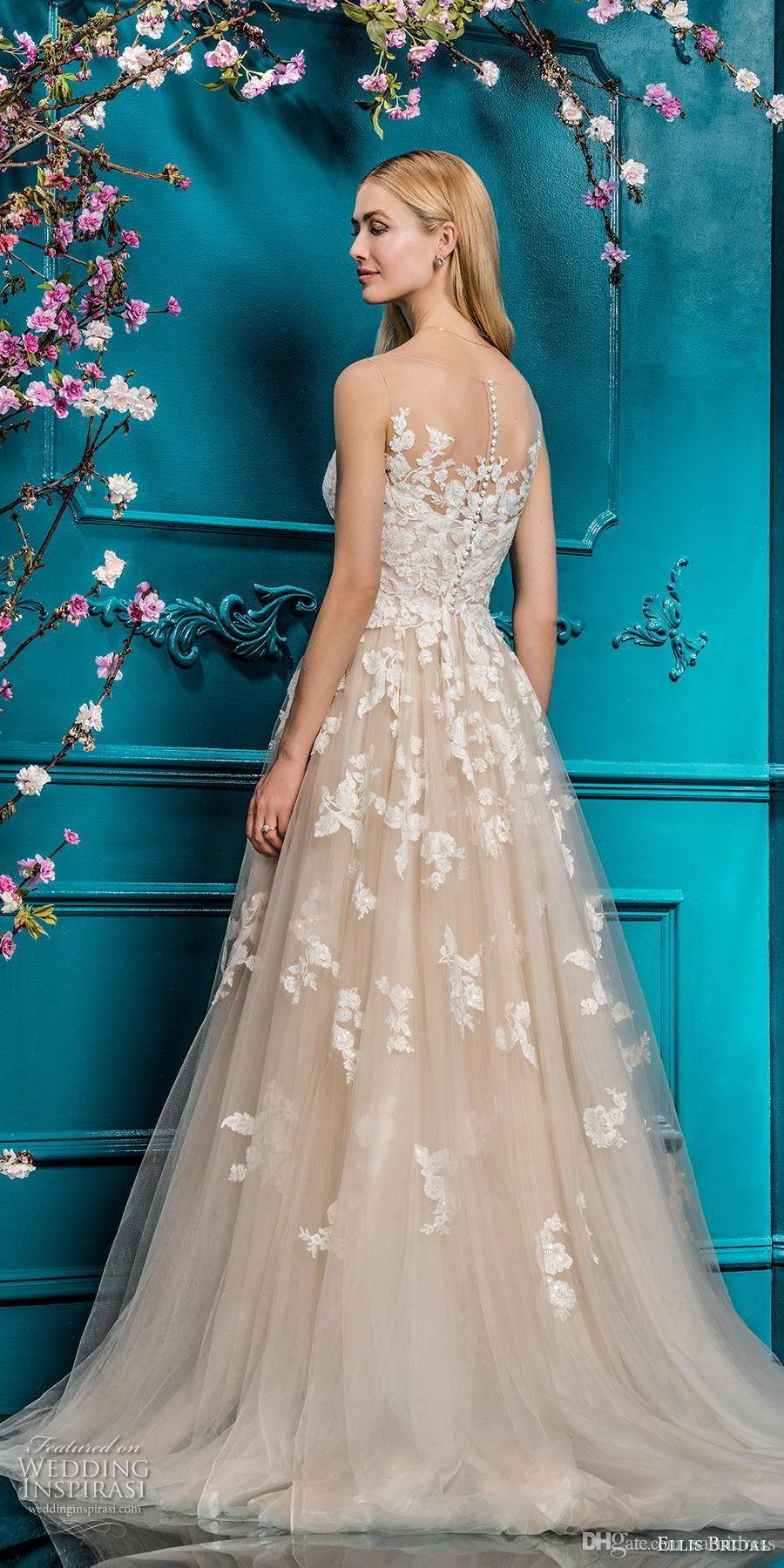 Personalizado feito uma linha sheer sem mangas nua / champanhe lace vestido de casamento applique com cristais vestido nupcial vestido de noiva curto