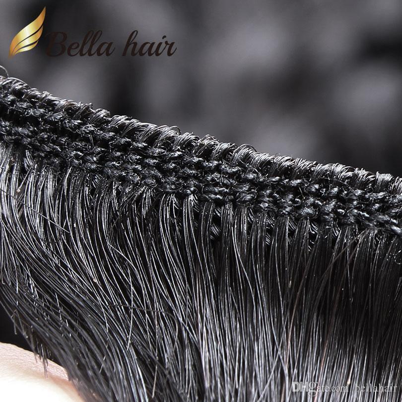 Bella Hair 100% Obehandlat Virgin Peruvian Hårbuntar med spetsavslutning Deep Wave Wavy 4x4 spets stängning fri del med baby hår