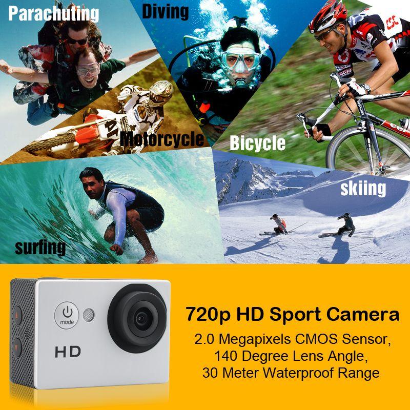 Hot selling 1080p HD Sport Camera - 2.0 Megapixels CMOS Sensor 140 Degree Lens Angle 30 Meter Waterproof Range