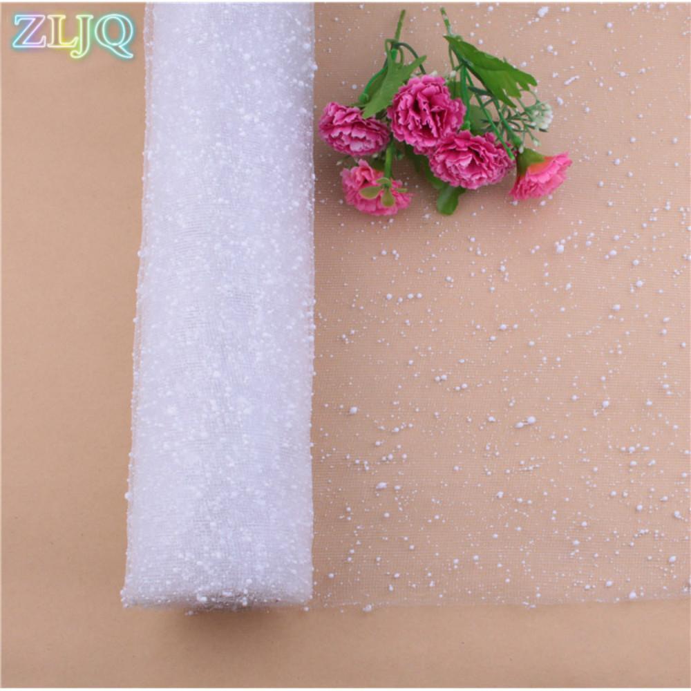 Zljq 3.6 m floco de neve de organza flor de papel de embrulho de papel de embrulho de tule vestido de noiva decoração de festa de aniversário