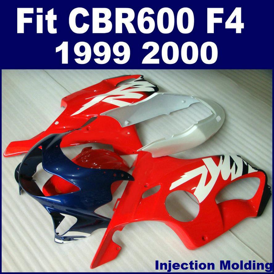100% Injection molding parts full fairing kits for HONDA CBR 600 F4 1999 2000 red 99 00 CBR600 F4 bodykits Y9KI