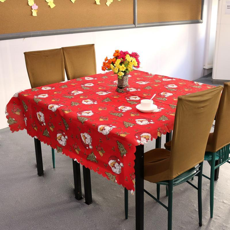 150x180cm Square Printed Tablecloth Santa Claus Christmas Tree
