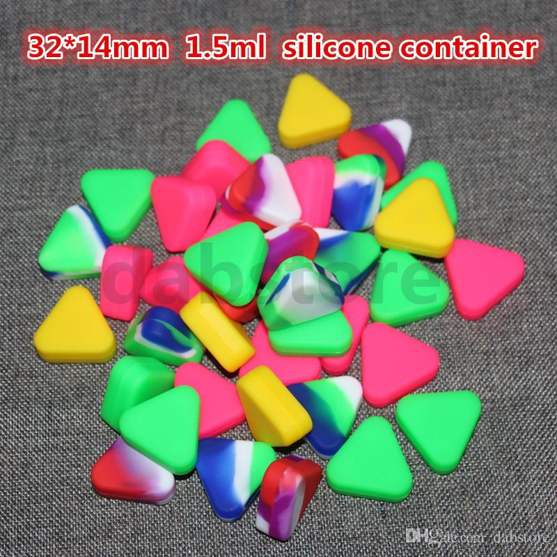 Triángulo al por mayor caja de contenedor de cera de silicona 1.5 ml tarros de silicona Caja de cera de hierba seca contenedor Dab envío gratis