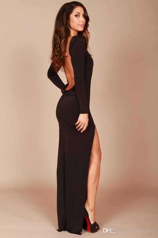black backless evening dresses high neck long sleeves side split mermaid tight prom dresses party gowns