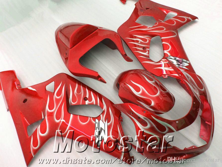 High grade fairings set for SUZUKI GSXR600 GSXR750 2001-2003 K1 white flames in red fairing kit GSX-R 600/750 01 02 03 EF52