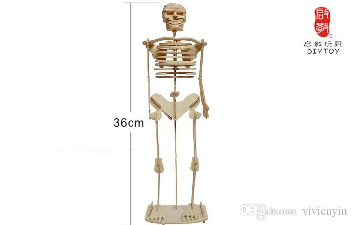 the popular birthday gift , human skeleton wooden jigsaw puzzle 3d, Skeleton