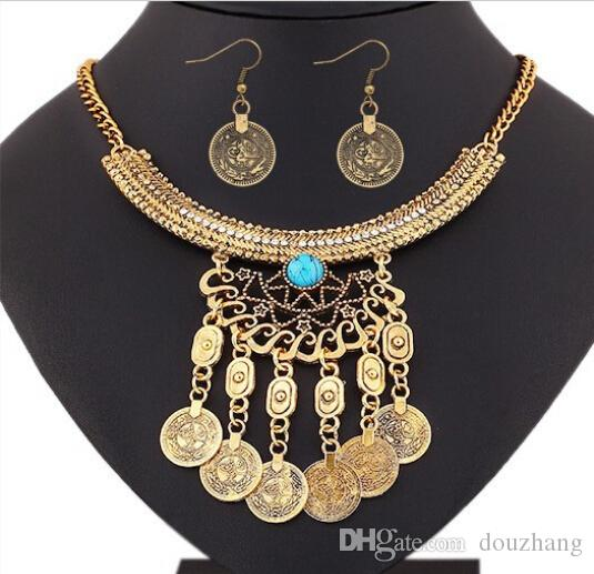 Bohemio Retro Tribal Crystal Crescent Bead Flower Coin Fringe Bib Collar Pendientes Set Turco Gypsy Jewelry Set