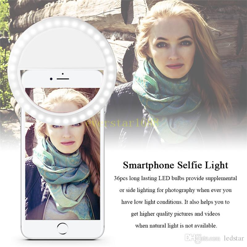 Rechargeable Universal Luxury Smart Phone LED Flash Light Up Selfie Luminous Phone Ring For iPhone for Android With USB Charging
