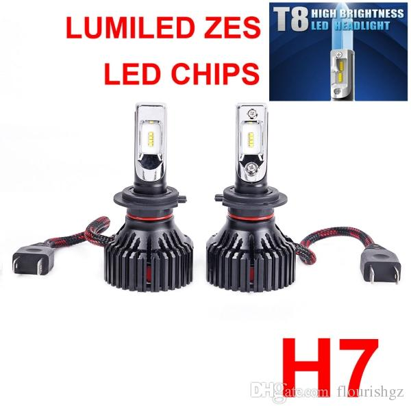 1 ensemble H4 H7 H8 H9 H11 H16 9005 9006 60W 8000LM T8 LED Phare LUMILED 2nd ZES Puces Blanc pur 6500K Ventilateur intégré HDRiving Bulb
