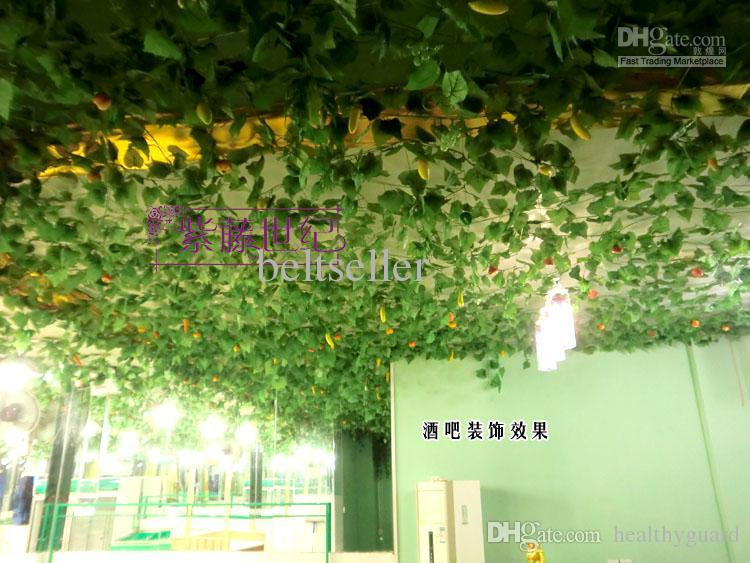 Beautiful High Simulation of Artificial Green Climbing Vines of Grape Leaves for Home Wall Decor Party Decoration Free Shipping