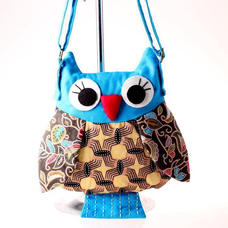 Mädchen Eule Schultertasche Handtasche Charakter Tuch handgemachte Vorschule Baby Eule Mode Tasche 26x23cm