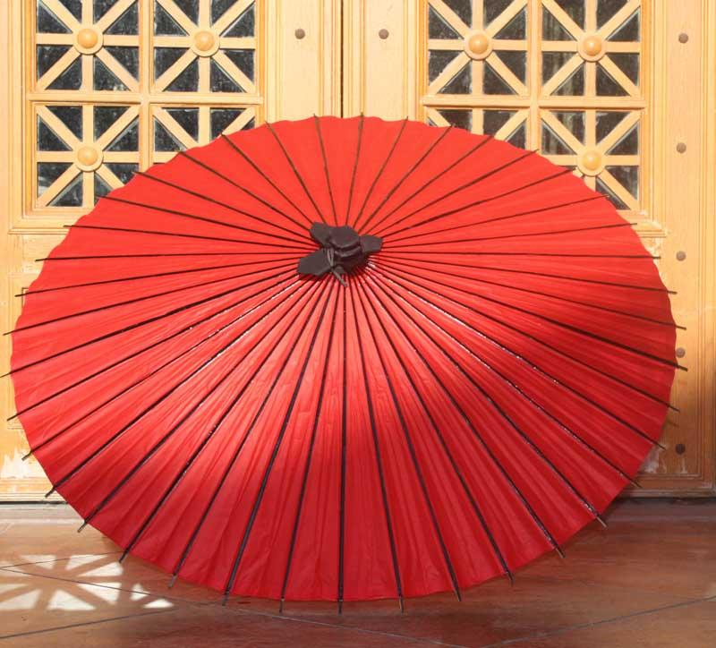 48 Quality Chinese Oiled Paper Parasol Black Red Craft Waterproof