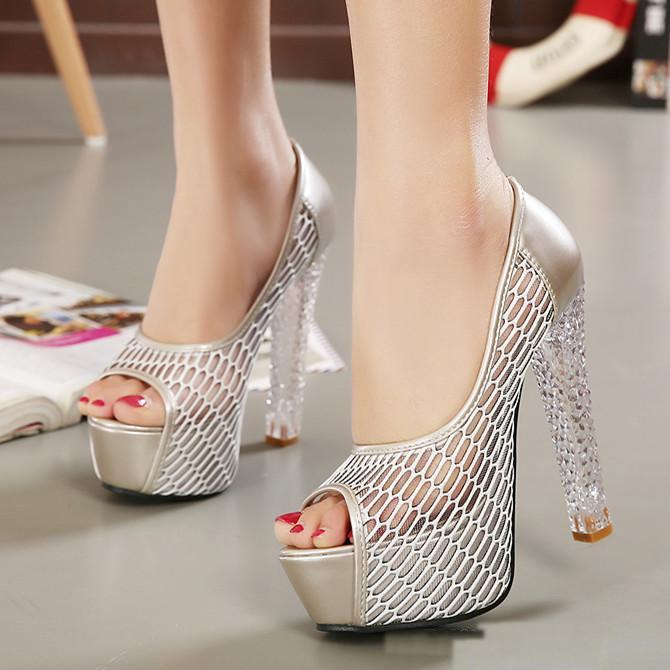 2015 2016 Sexy Silver Crystal Heels Wedding Shoes Designer