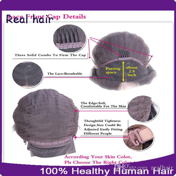 100 % 처리되지 않은 인간의 머리카락 전체 레이스 가발 / 레이스 프런트 가발 아기 머리 8A 느슨한 웨이브 브라질 인간의 가발 블랙 여성