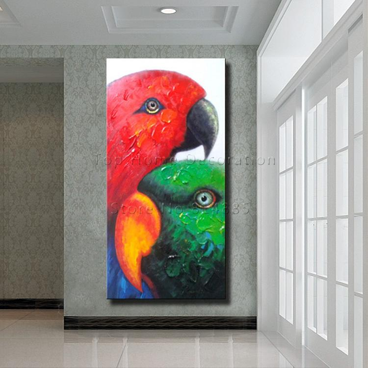 Hand Painted Wall Art online cheap parrot picture painting wall art 100% hand painted