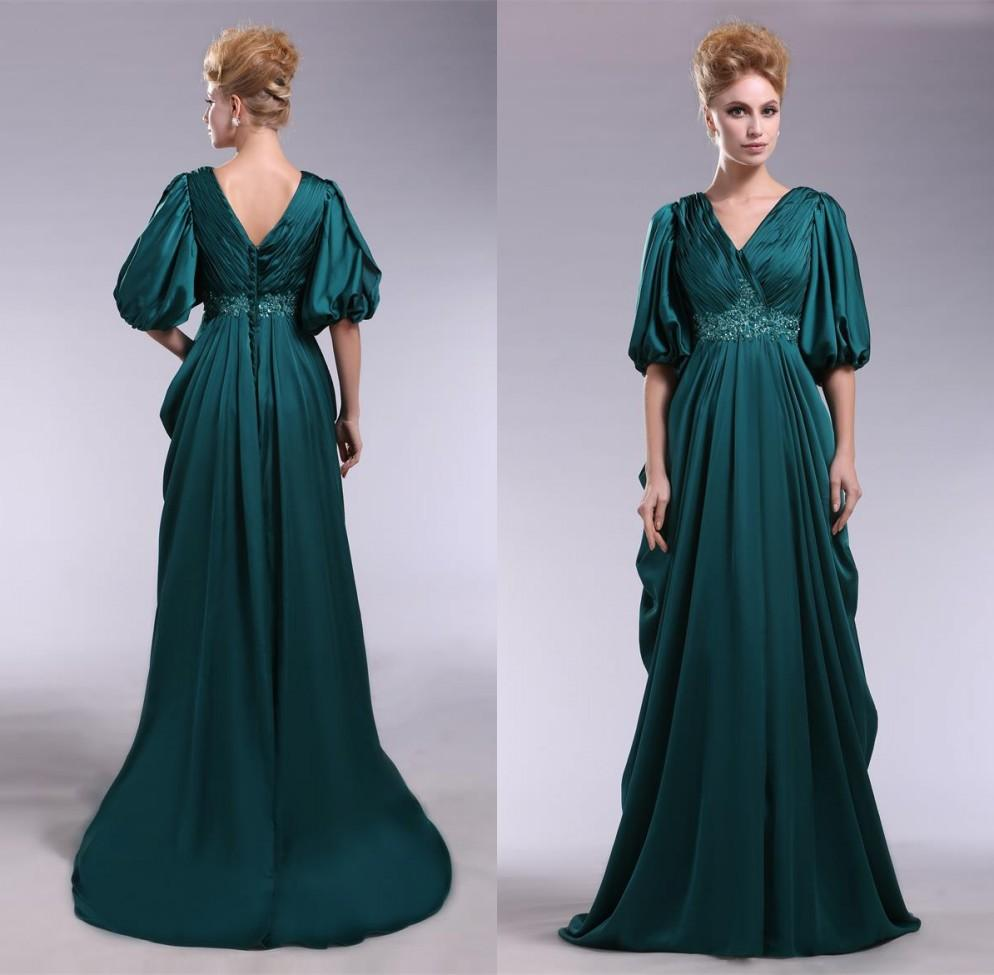Gorgeous V Neck Emerald Green Evening Dresses With Half Sleeves A ...