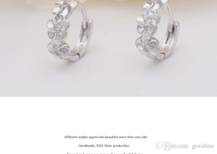 925 스털링 실버 라운드 원형 후프 귀걸이 여자를위한 패션 쥬얼리 복고풍 단일 행 꽃 지르콘 다이아몬드 크리스탈 귀걸이