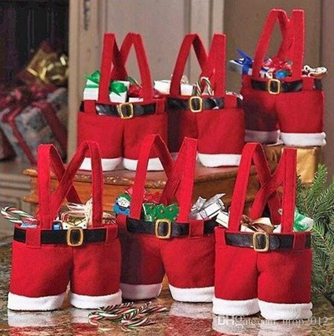 Fashion Christmas Gift Santa Pants Style Decoration Wedding Candy Bags Lovely Gifts Xmas Bag For Children Window Decorations