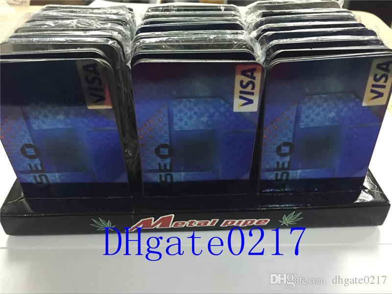 고품질 신용 카드 흡연 담배를 피우는 금속 파이프를 클릭하십시오 재미있는 금속 마그네틱 맞는 지갑 실버 유리 파이프 무료 배송