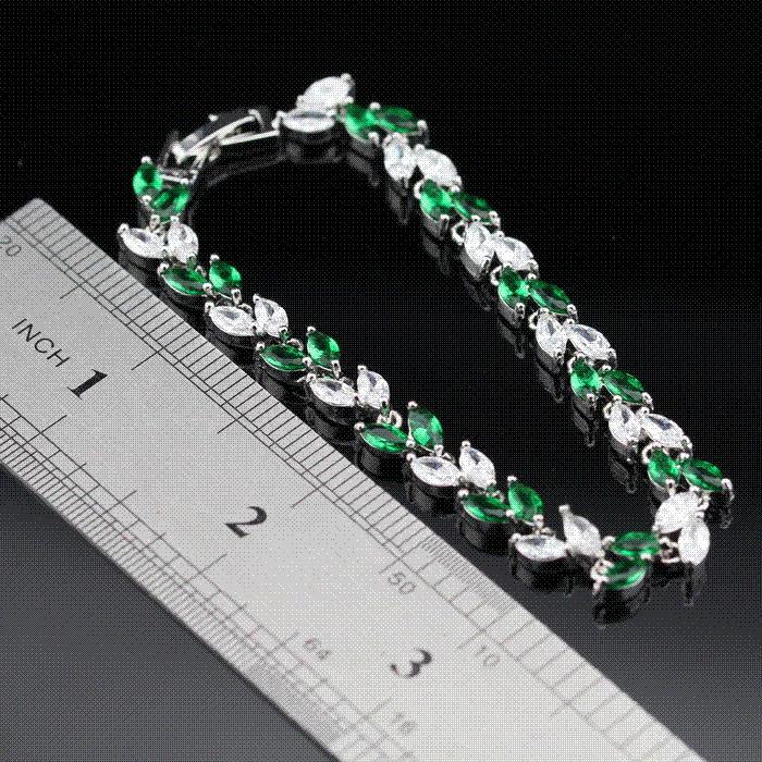 2018 Horse Eye Green Emerald White Topaz Women Link Chain Bracelets