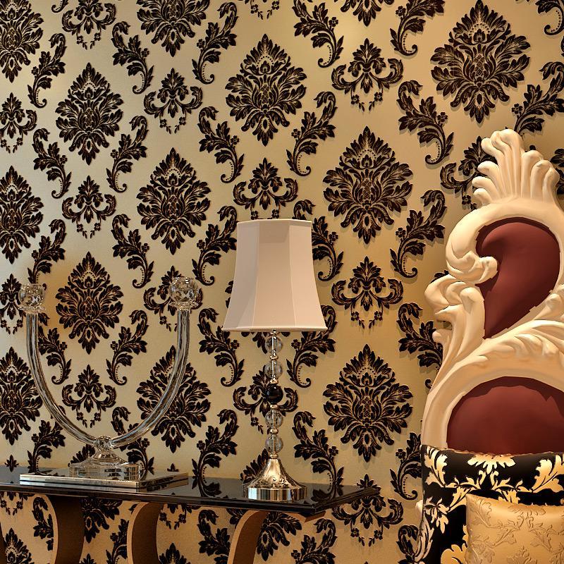 5,3 m 2 klassische Tapete Wohnkultur Hintergrund europäischen Wand Damast Tapete schwarz floral Tapete 3d Samt Tapete