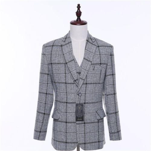 Light Gray Plaid Pattern Men Wedding Suits Groom Tuxedos Formal Business Suits jacket + pants + vest custom made
