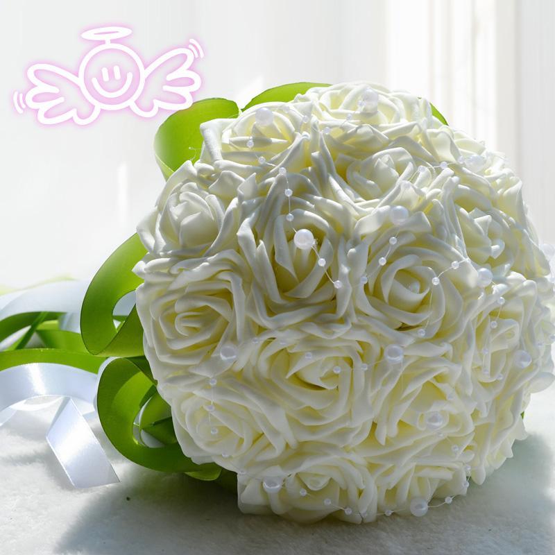 2018 Güzel Düğün Gelin Buketi Düğün Dekorasyon Nedime Çiçek İnciler İpek Gül ile Purle Fildişi Pembe ve Kırmızı 18 parça HY