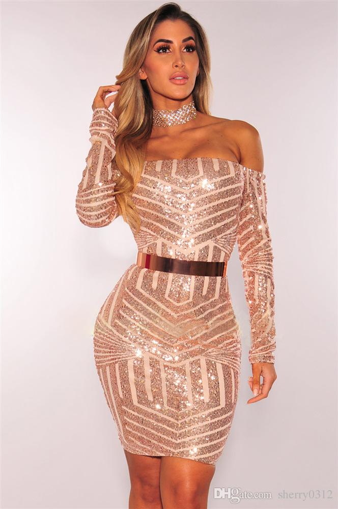 2019 Sexy Off Shoulder Long Sleeve Mini Dresses Fashion Designed Skinny  Package Hip Gold Long Sleeve Party Dress Clubwear Sequins Vintage Dress  From ... d09441d69
