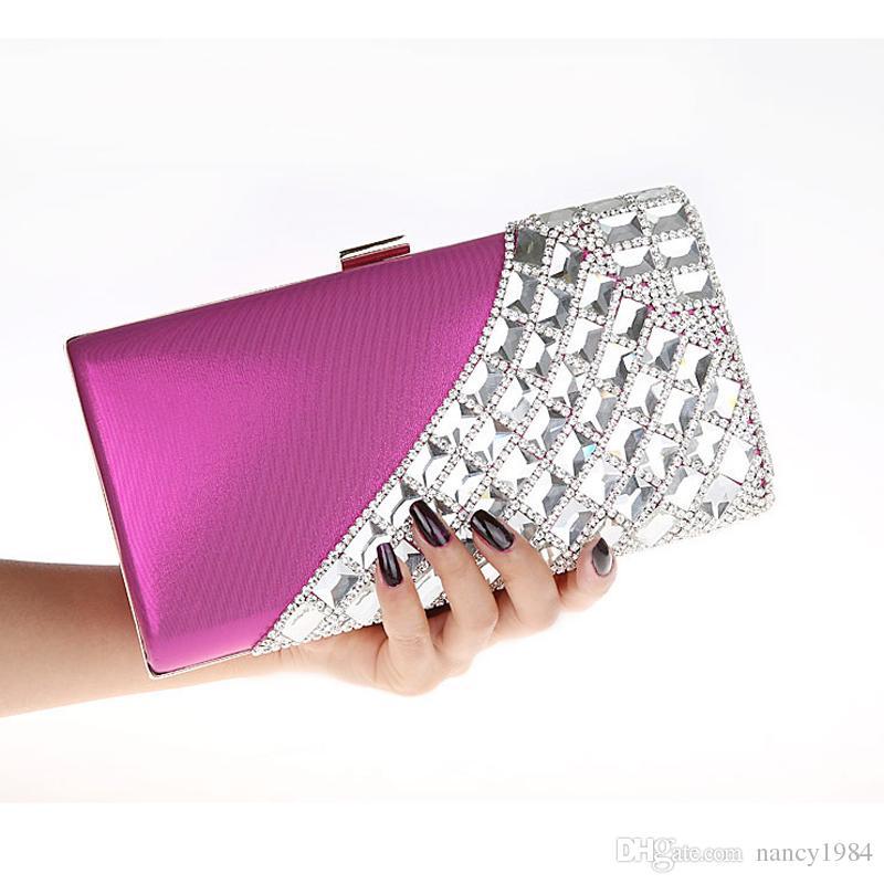 New Luxury Banquet Bride Rhinestone Handbag Fashion Evening Bag Wedding Party Mini Purse Lady Wallet with Chain