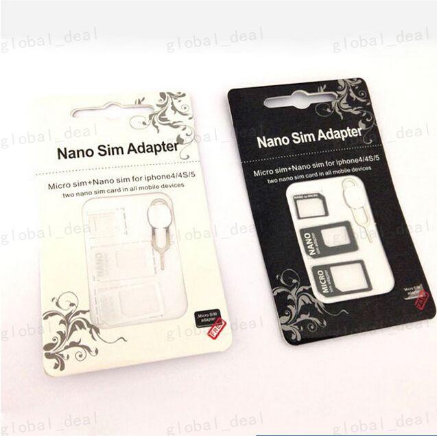 4 Iphone 4 4S 6 Samsung S4 S3 SIM Kart Perakende Kutusu İçin 1 Noosy Nano Mikro SIM Adaptör Çıkart Pim için Iphone 5'te