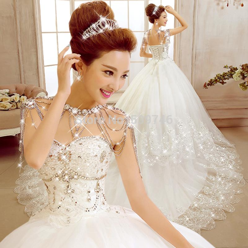 Discount 2015 Diamond Sweetheart Wedding Dress Ball Gown With Chain ...