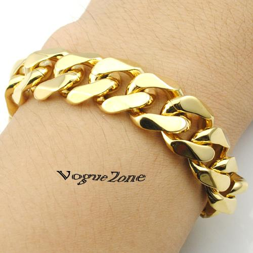Online Cheap 14mm Width Fashion 316l Stainless Steel Gold Hand Chain