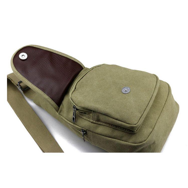 새로운 스타일 남성 캐주얼 캔버스 가슴 가방 단일 어깨 불균형 슬링 팩 크로스 바디 가방 높은 품질 남성 가방