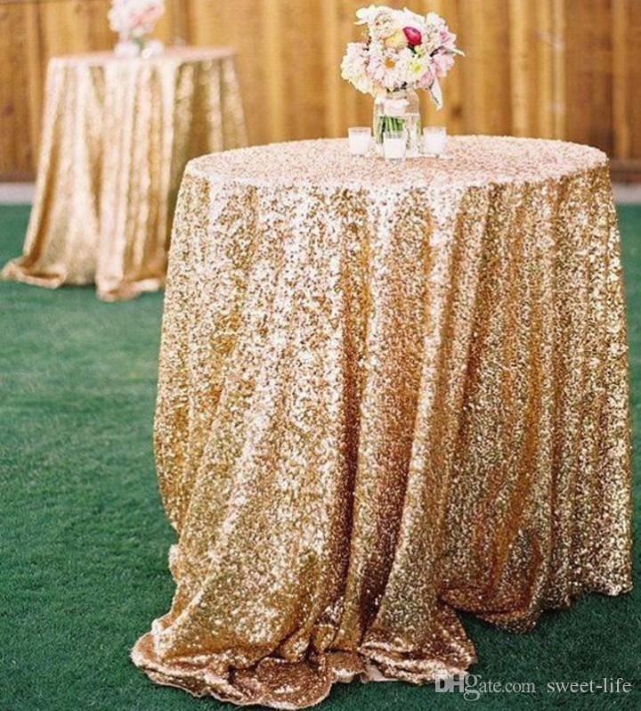 Blue And Gold Wedding Decorations: 2015 Bling Rose Gold Sequins Wedding Party Round Table