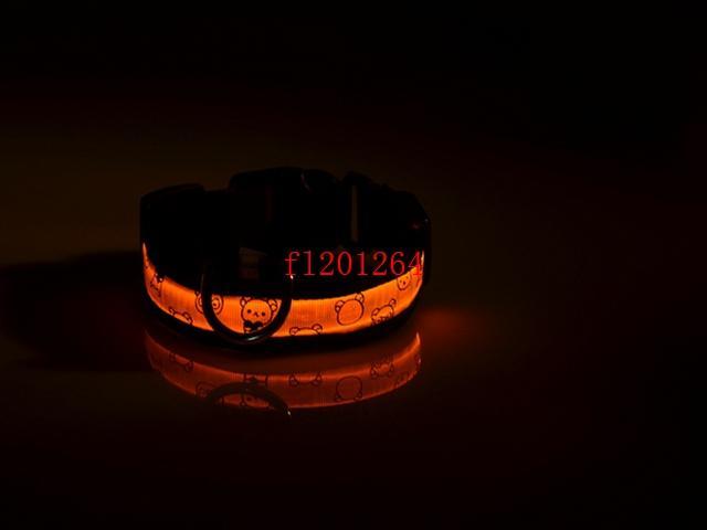 100 adet / grup Ücretsiz Kargo LED Işık-up Köpek Tasma Yanıp Sönen LED Naylon Pet Köpek Yaka Gece Güvenlik Elektrikli LED Ayı Tarzı Yaka
