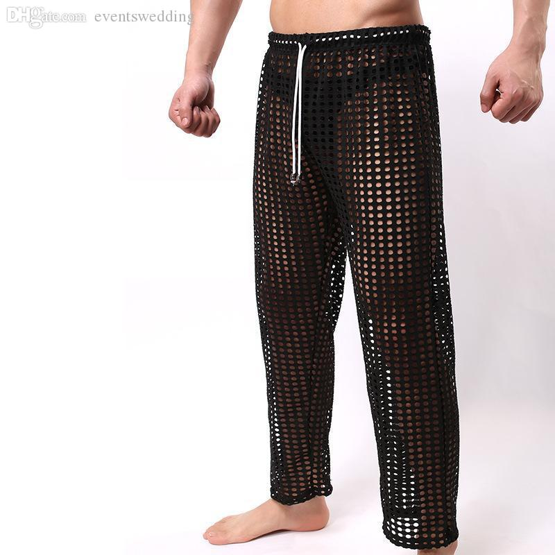 61cb84146498 2019 Wholesale Sexy Mens Pants Sleepwear See Through Big Mesh Lounge Pajama  Bottoms Loose Trousers Low Rise Couples Gay Male Fetish Sex Wear From ...