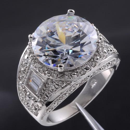 Mens Big Round Diamond Simulated White Sapphire 18K Gold Filled
