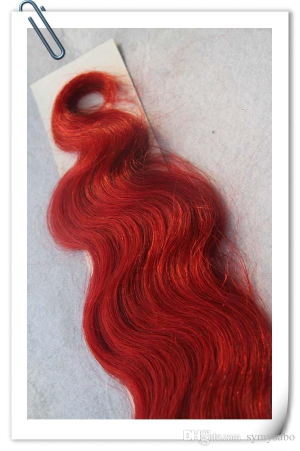 PU Bantlama Saç Uzatma Bakire Brezilyalı Saç Kırmızı vücut dalga Dikişsiz Çift Çizilmiş Cilt Atkı Bant Saç Uzantıları 20/40 adet
