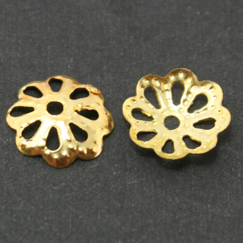 150 g (aprox. 1500 unids) -Metal Hollow Flower Bead Cap 9mm plateado GoldRhodiumAntiguo Brozen U-Pick Color separador de cuentas DIY Hallazgos DH-FDA006